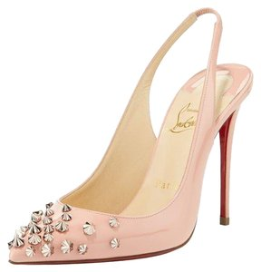 01dc681c19b8 Christian Louboutin Sling Spike Patent Leather Drama Studded Pink Pumps