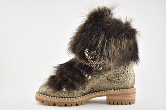 super popular 8fc0f bf984 Christian Louboutin Bronze Fanny Flat Roche Gold Raccoon Fur Leather Lace  Up Tie Combat Boots/Booties Size EU 36 (Approx. US 6) Regular (M, B)