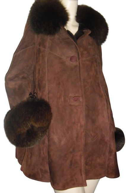 Item - Chocolate Brown Mink Collar Mink Sleeves Suede Swing Style Leather Coat Size 12 (L)