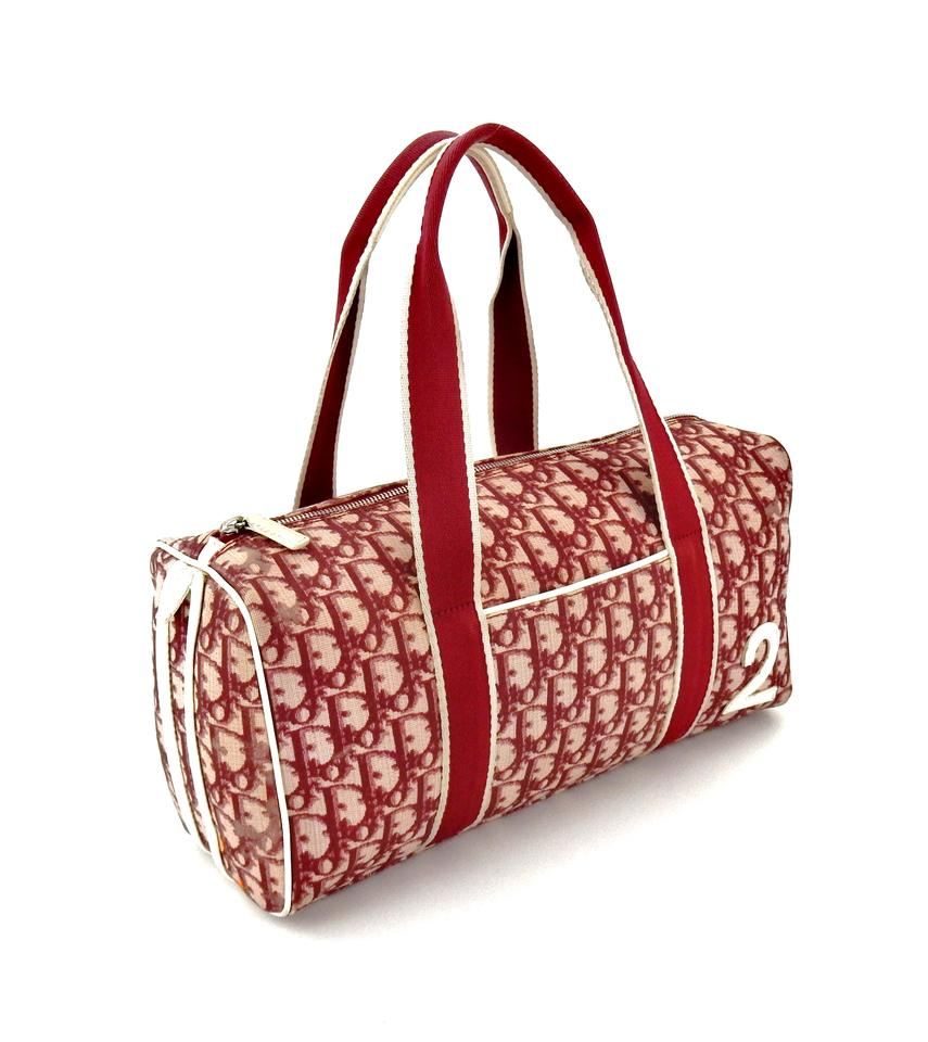 Dior Sports Red Trotter Monogram Canvas Leather Shoulder Bag - Tradesy 0fa3c04122b4d