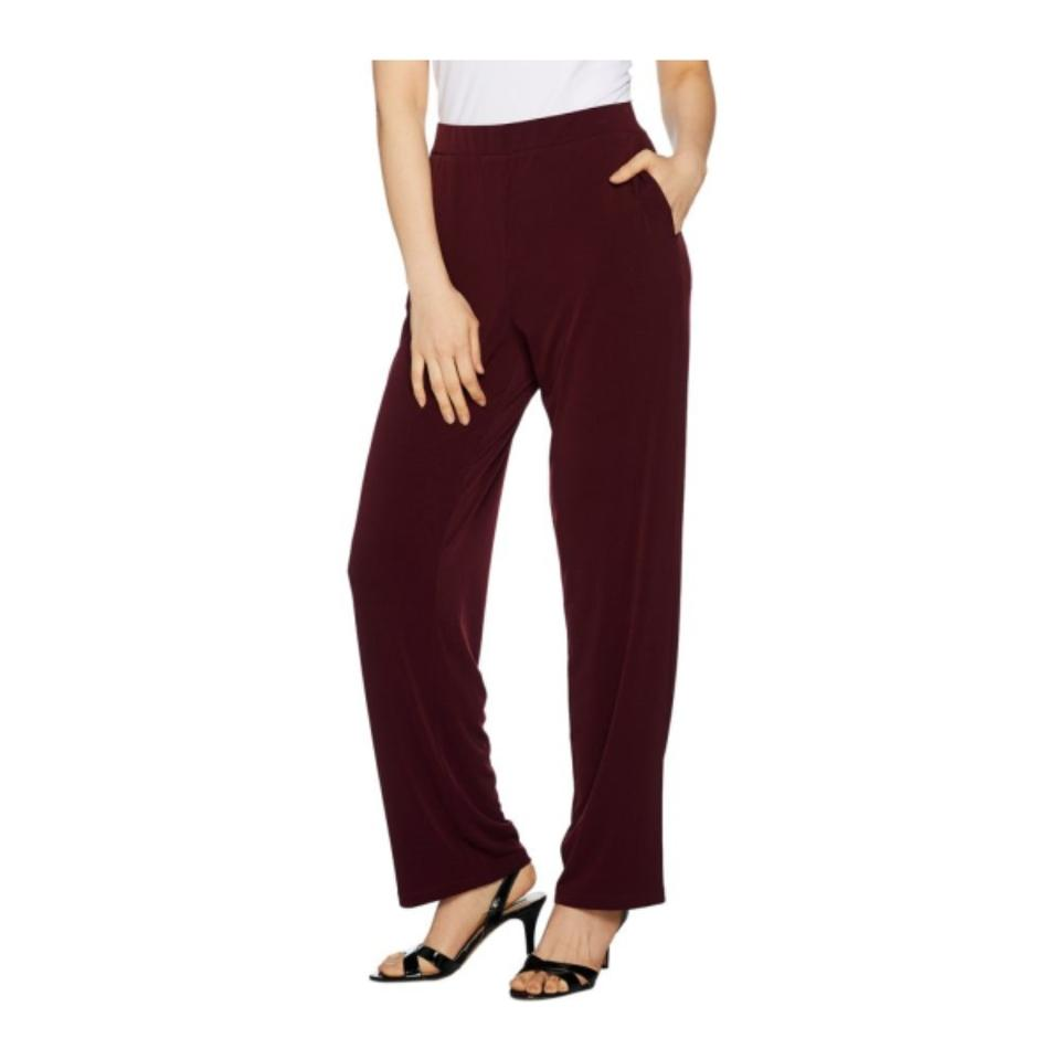Susan Graver Deep Claret Every Day By Tall Liquid Knit Pants Size 24