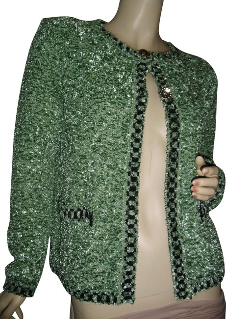 Item - Green Black Chanel Style Knit White Trim French Style Cardigan Size 8 (M)