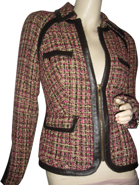Item - Fuschia Rose Pink Gold Lurex Black Beige Tweed.fitted Faux Leather Trim Zip Front Logo Blazer Size 8 (M)