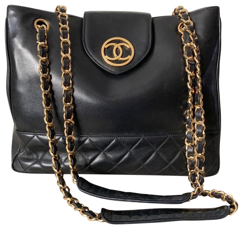 3db94911a25f Chanel Quilted Black Lambskin Leather Tote - Tradesy