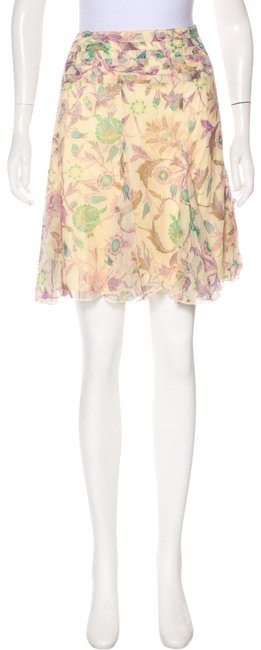 Item - Pale Yellow Purple Green Brown and Pink Abstract Floral Print Silk Skirt Size 6 (S, 28)