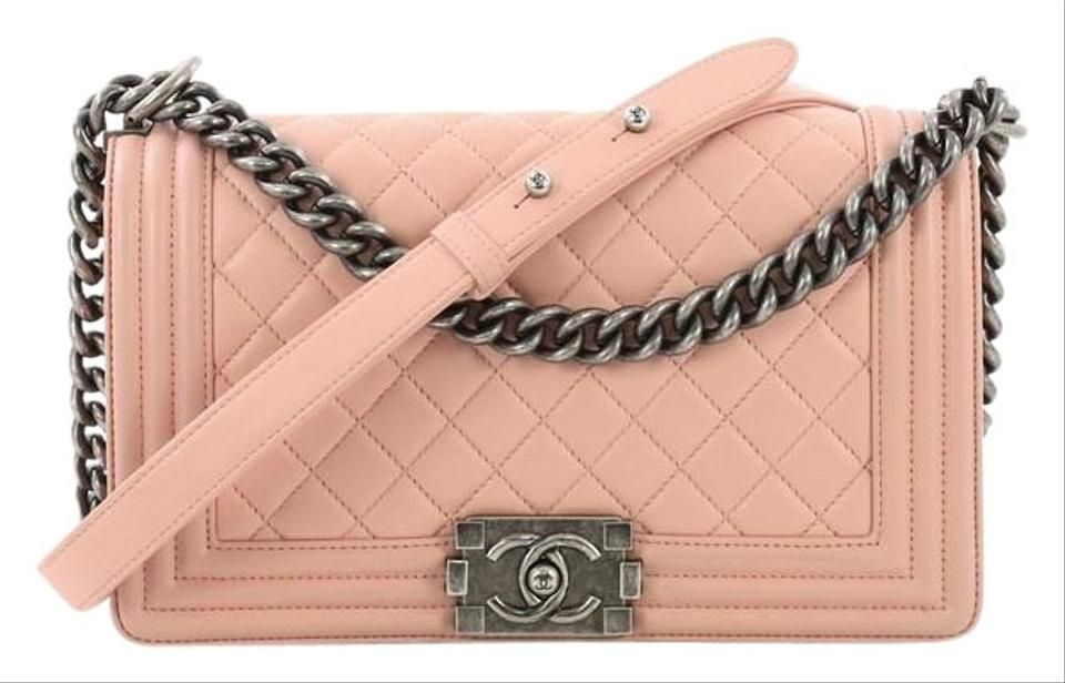 Chanel Classic Flap Boy Quilted Old Medium Pink Calfskin Shoulder ... 0b8b29f0e4034