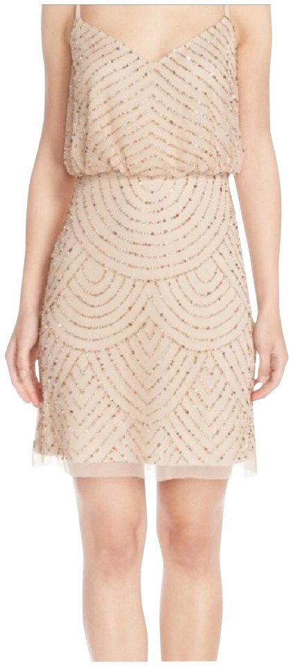 7c0f1114 Adrianna Papell Champagne Gold Art Deco Beaded Short Formal Dress ...