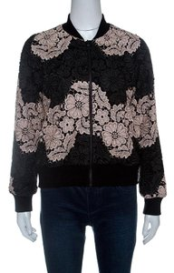 Alice + Olivia Black and Pink Floral Guipure Lace Felisa Bomber Jacket S