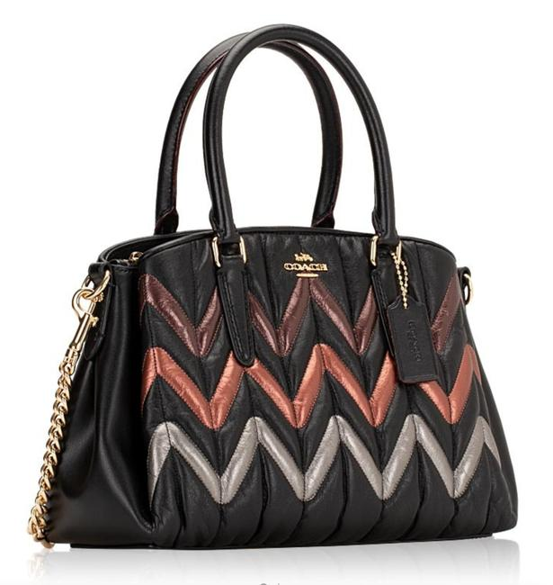 Coach New Color-block Quilted Strips Small Satchel Black Leather Cross Body Bag Coach New Color-block Quilted Strips Small Satchel Black Leather Cross Body Bag Image 1