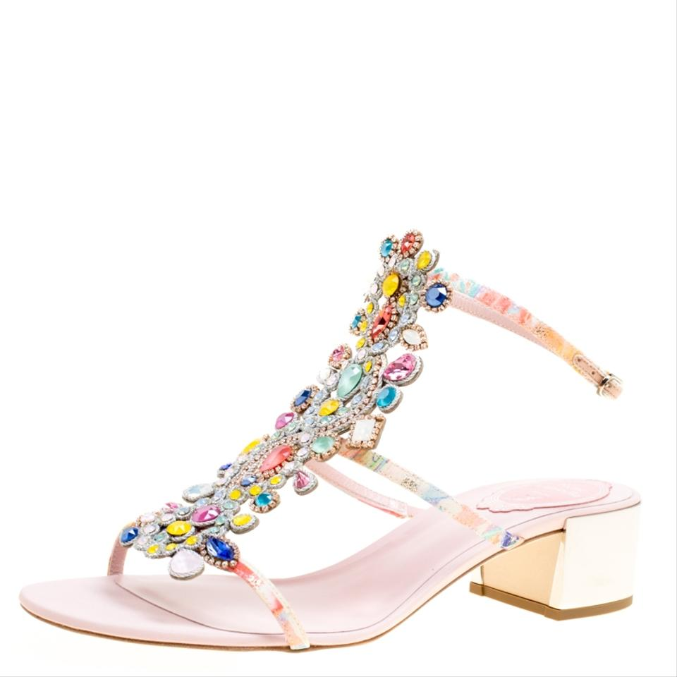 a6c5b7de0523 Rene Caovilla Multicolor Satin Crystal Embellished Strappy Sandals ...