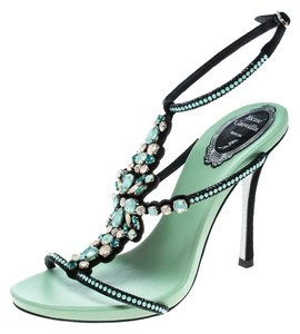 Rene Caovilla Crystal Embellished Suede Strappy Leather Mint Green Sandals