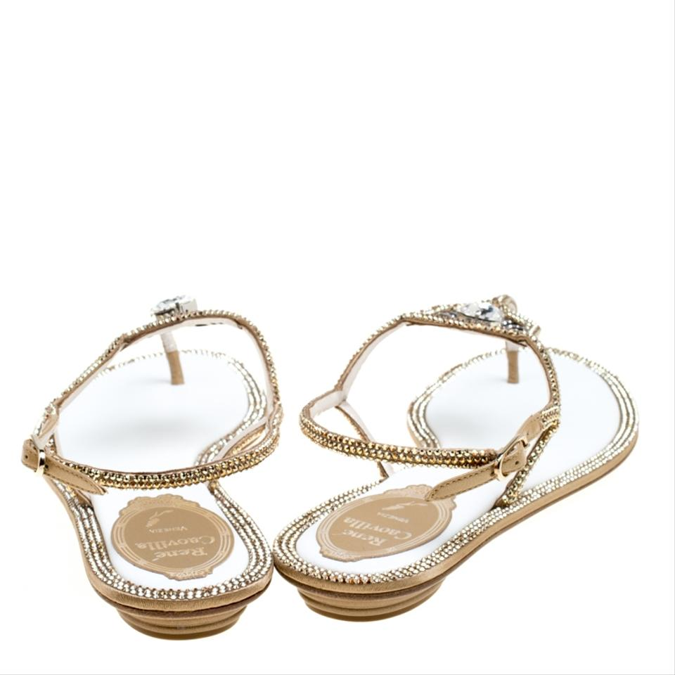 ad380a745be9a Rene Caovilla Gold Metallic Crystal Embellished Satin Flat Sandals ...