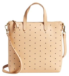 Madewell Perforated Leather Optional Long Strap Interior Wall Pocket Top Zip Carry Handles Tote in Beige