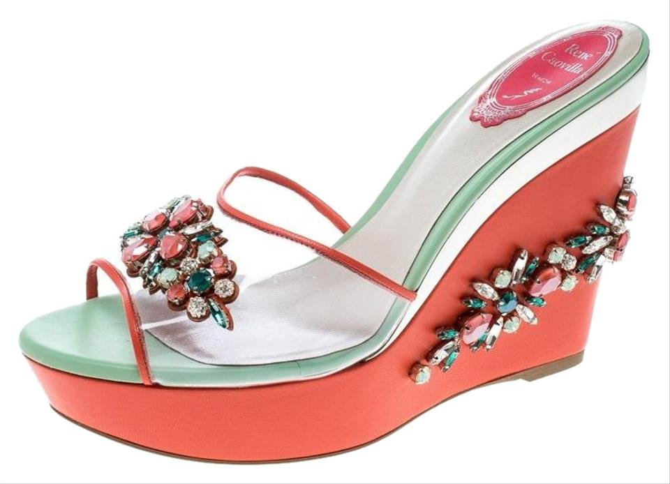 a9b11c062fd Rene Caovilla Leather Crystal Embellished Rubber Tricolor Wedges Image 0 ...