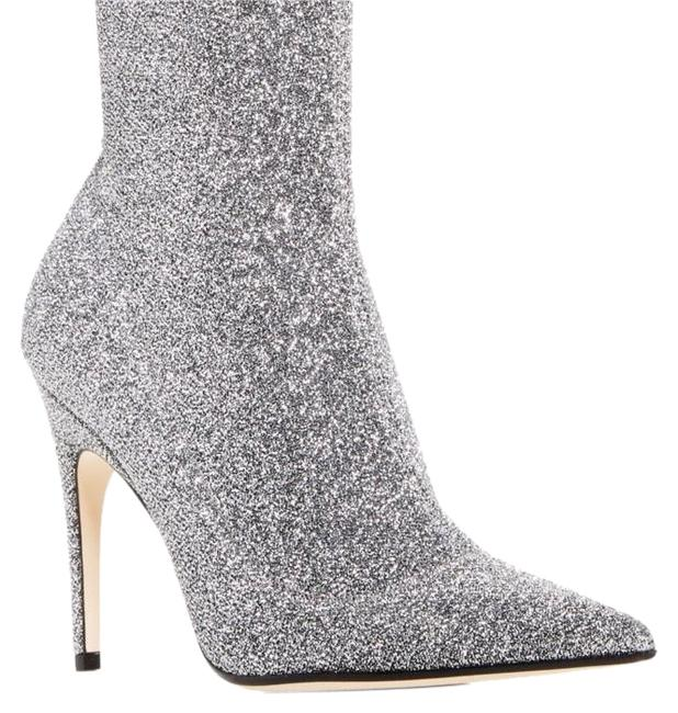 Item - Silver Glitter Pointed Toe Knit Boots/Booties Size EU 38 (Approx. US 8) Regular (M, B)