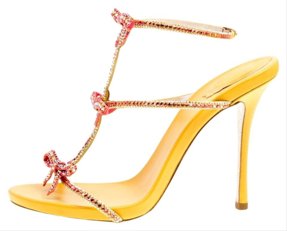 ec47db8d3 Rene Caovilla Yellow Satin Crystal Embellished Bow Strappy Sandals. Size  EU  39 (Approx.