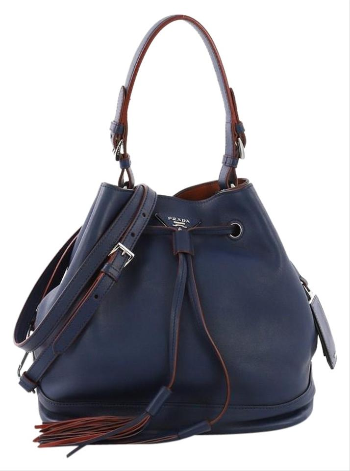 32136b267e21 Prada Convertible Drawstring Bucket Large Blue Leather Shoulder Bag ...