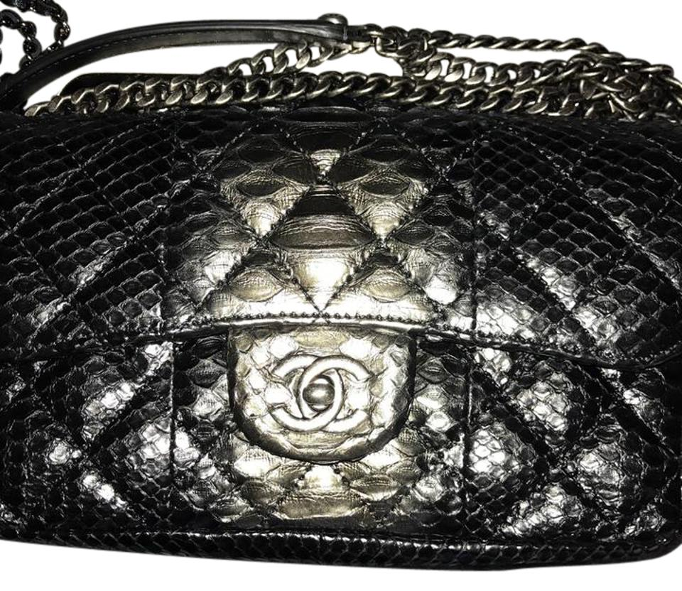 ce8c5539c0f0 Chanel Classic Flap Pewter Python Lamb Shoulder Bag - Tradesy