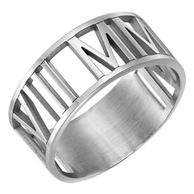 Item - Roman Personalized Numeral Date Ring In White Gol Women's Wedding Band