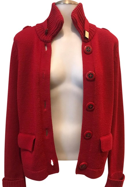 Item - Red Button Up Knit with Epaulettes Jacket Size 8 (M)