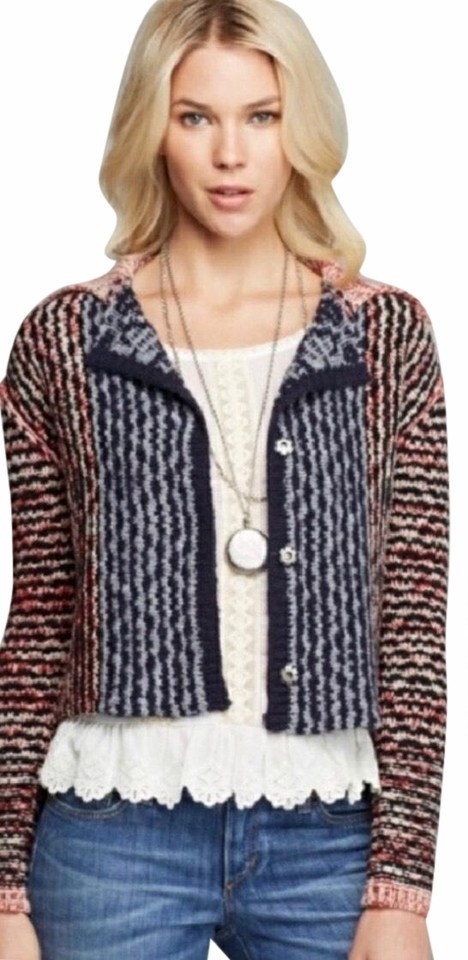 26564e5dc1 Free People Red Navy Blue Gray Collared Chunky Cardigan W  Open Back ...