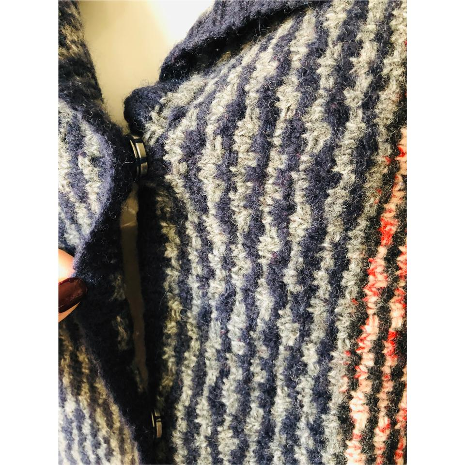 8f7c76a108 Free People Red Navy Blue Gray Collared Chunky Cardigan W  Open Back M Red Navy  Sweater - Tradesy