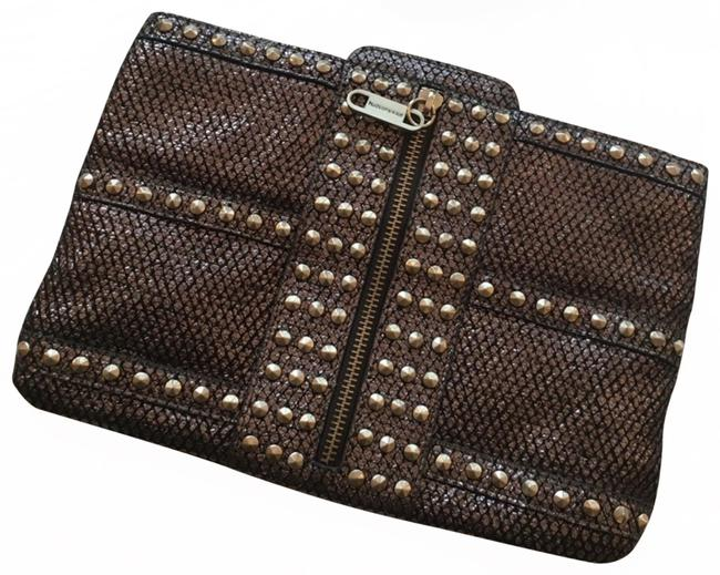 Item - Snakeskin Textured Studded Silver Leather Clutch