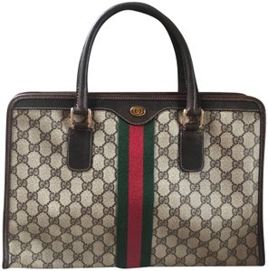 Gucci Vintage Monogram Web Leather Ophidia Tote in Brown