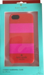 Kate Spade Kate Spade Hybrid Hardshell Pink and Red Rugby Stripe Case Cover iPhone 5/5S