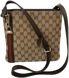 55cd4503179c Gucci Messenger Web Gg Monogram Leather Trim Beige Canvas Cross Body ...