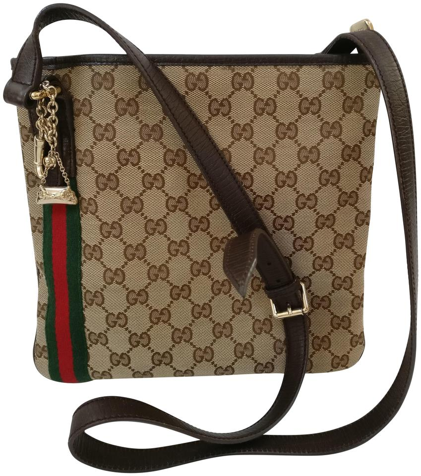 744df62f88f Gucci Web Gg Monogram Leather Trim Messenger Beige Canvas Cross Body ...