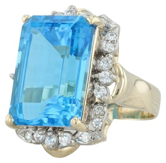 Preload https://img-static.tradesy.com/item/24693026/yellow-gold-2060ctw-blue-topaz-and-cz-cocktail-14k-size-75-halo-ring-0-1-540-540.jpg