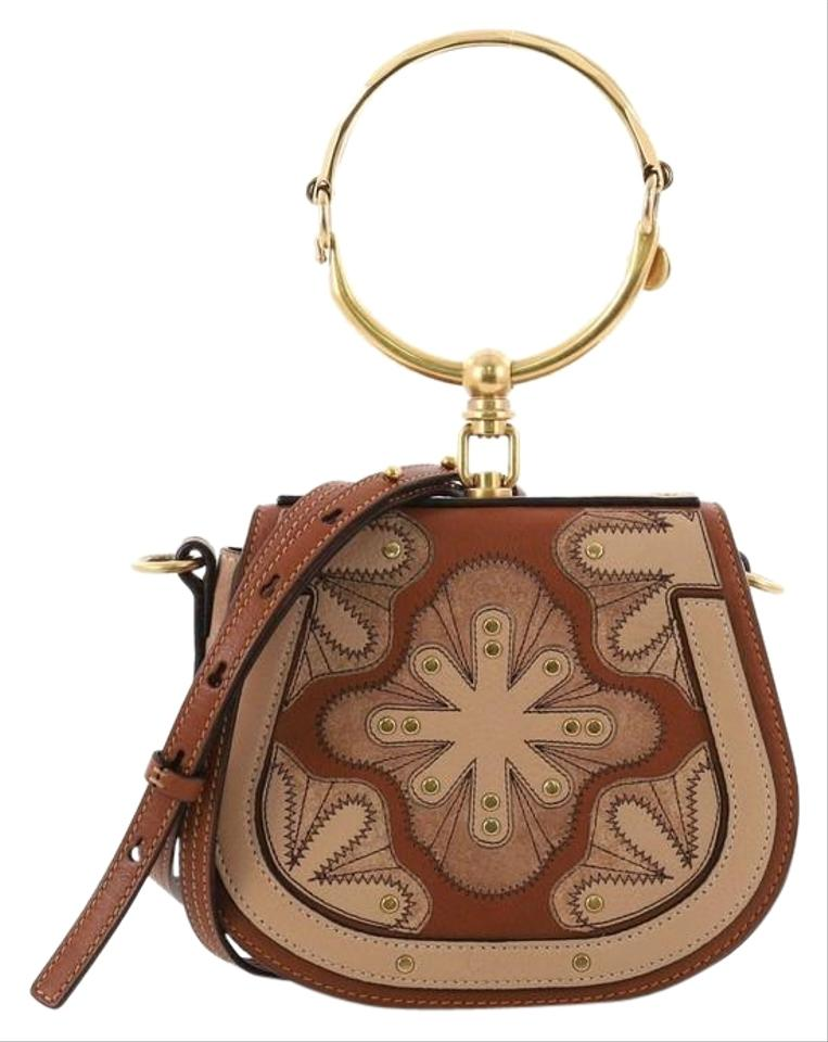 b7875b61155 Chloé Nile Patchwork Studded with Suede Small Brown Leather Cross Body Bag