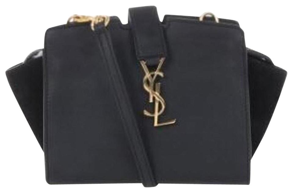 Saint Laurent Monogram Toy Cabas Black Leather and Suede Cross Body ... 269446f8c7bb6