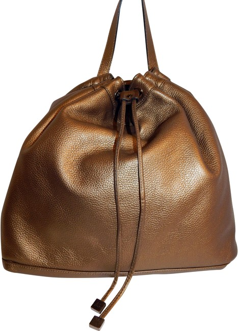 Item - Drawstring Italy Pebbled Bronze Leather Backpack