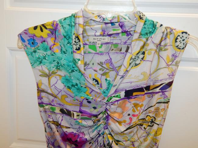 Etro Ruched Sleeveless Stretchy Floral Top Mulitcolor