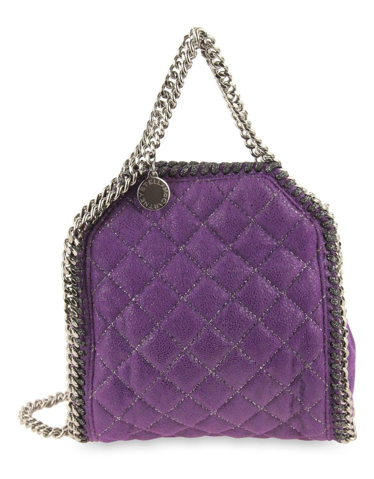 b7450fb26ea7 Stella McCartney Falabella Tini Fold Over Quilted Shaggy Deer Purple Faux  Leather Cross Body Bag