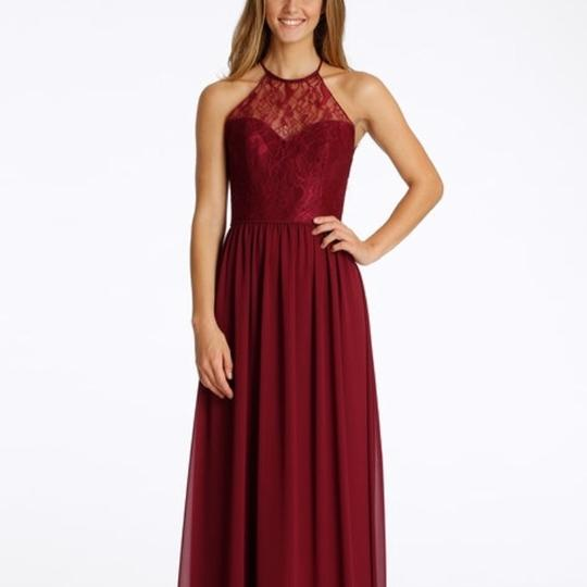 Hayley Paige Collections Burgundy Chiffon / Burgundy Lace and 5613 Formal Bridesmaid/Mob Dress Size 8 (M)