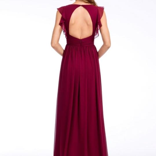 Hayley Paige Collections Burgundy Chiffon 5660 Formal Bridesmaid/Mob Dress Size 10 (M)