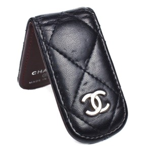 Chanel Chanel Money Clip Wallet Leather Black Lambskin Quilted CC Silver Logo