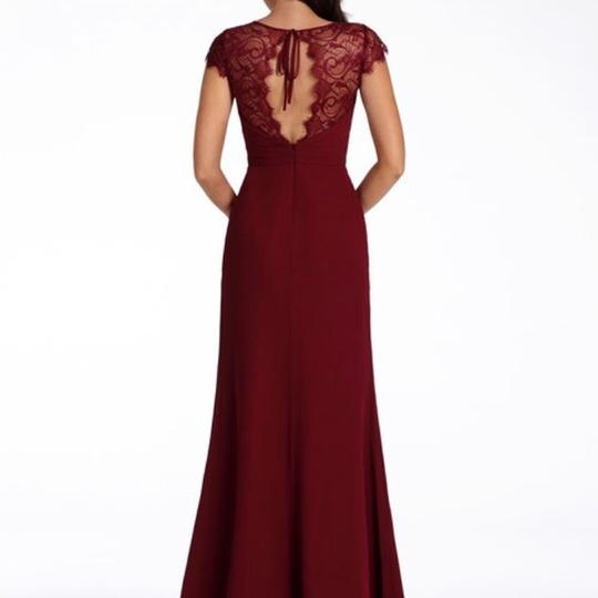 Hayley Paige Collections Burgundy Chiffon 5709 Formal Bridesmaid/Mob Dress Size 16 (XL, Plus 0x)