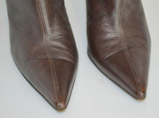Gucci Leather Zippers Pointy Toes Designer Brown Boots