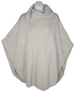 CAbi Poncho Cable Knit Cotton Sweater