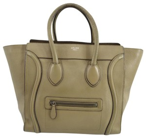 Céline Luxury Fall Winter Spring Leather Satchel in Grey/Silver