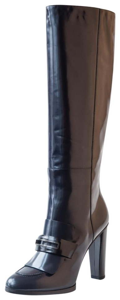 shop outlet incredible prices Balenciaga Navy Bblue Knee High Patent Leather Boots/Booties Size ...