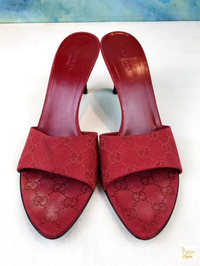 Gucci Canvas Gg Web Red Sandals
