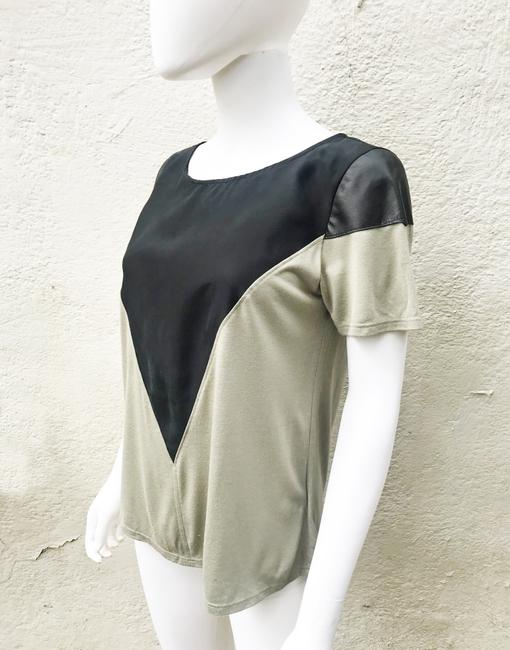 AIKO Leather Silk Color-blocking Geometric Sleeves T Shirt Gray