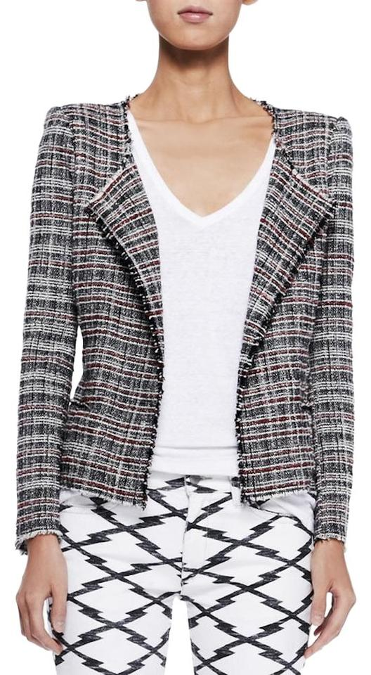 94188db843 Étoile Isabel Marant Black White Red Gaylord Drape-front Tweed ...