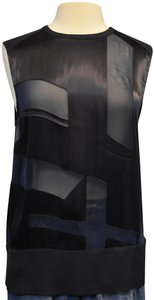 Helmut Lang Sheer Silk Top Navy
