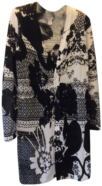 Item - Black & White Tunic Length Cardigan Size 00 (XXS)
